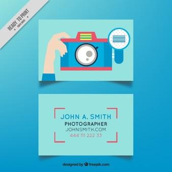 Camera cartão de estúdio de fotografia no design plano