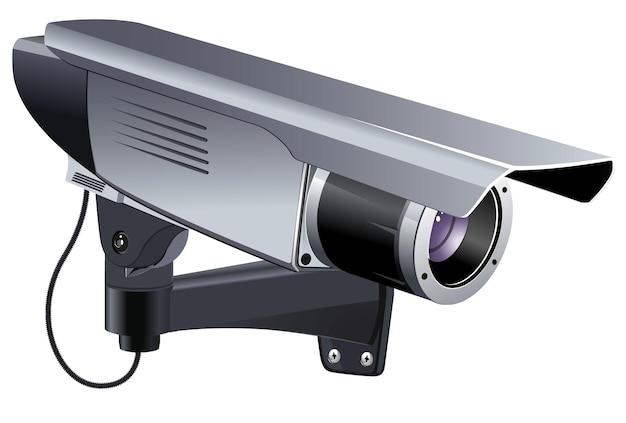Câmera cctv para ilustração vetorial de segurança e monitoramento remoto Vetor Premium