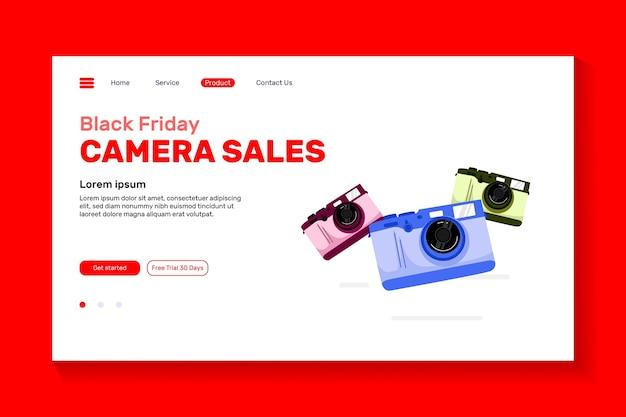 Câmera colorida de ilustração para o design da página de destino do site