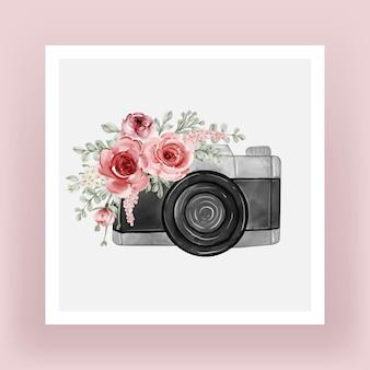 Câmera com flores em aquarela ilustração rosa brilhante