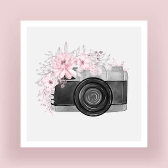 Câmera com flores em aquarela ilustração rosa claro