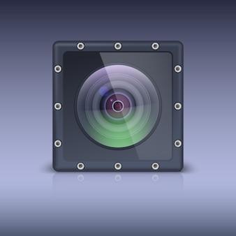 Câmera de ação em um invólucro protetor com parafusos.