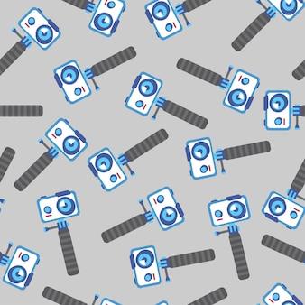 Câmera de ação para gravação de vlogging em padrão uniforme