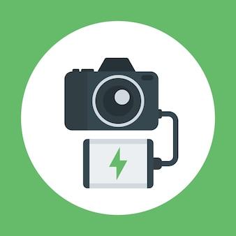 Câmera de carregamento do banco de energia, ícone plano do carregador portátil, ilustração vetorial