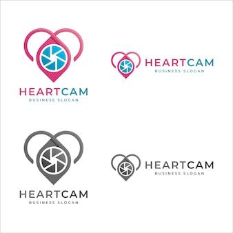Câmera de coração - logotipo de foto de amor