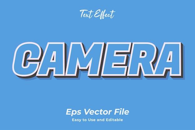 Câmera de efeito de texto editável e fácil de usar vetor premium