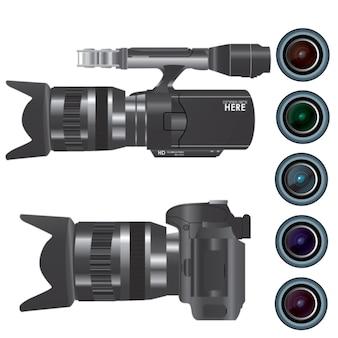 Câmera de gravação de vídeo com lente