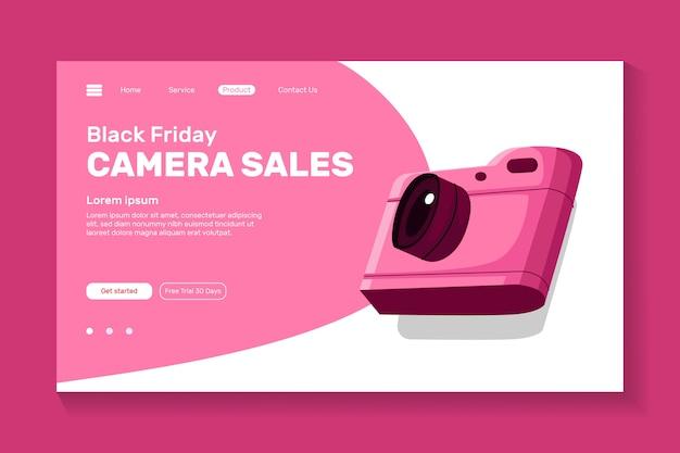 Câmera de ilustração para o design da página de destino do site