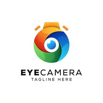 Câmera de olho colorido, modelo de logotipo de fotografia
