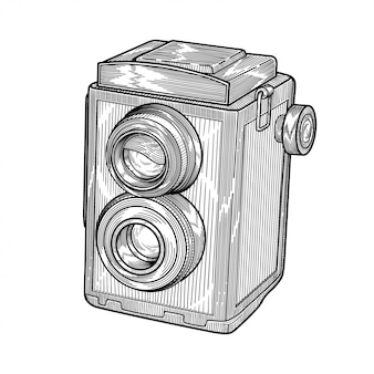 Câmera de reflexo vintage com lente dupla