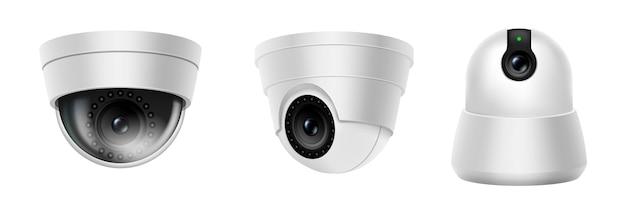 Câmera de segurança digital ou equipamento seguro residencial de espião de cctv. conjunto de câmera de cúpula realista isolado no fundo branco. o controle de segurança e o crime protegem o conceito. ilustração vetorial 3d