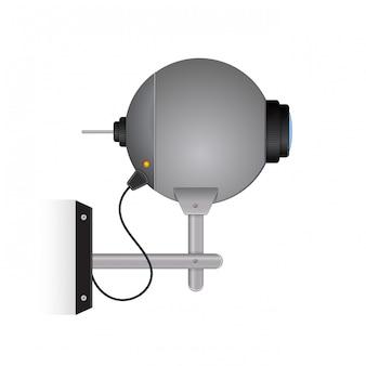 Câmera de segurança exterior cinza redonda.