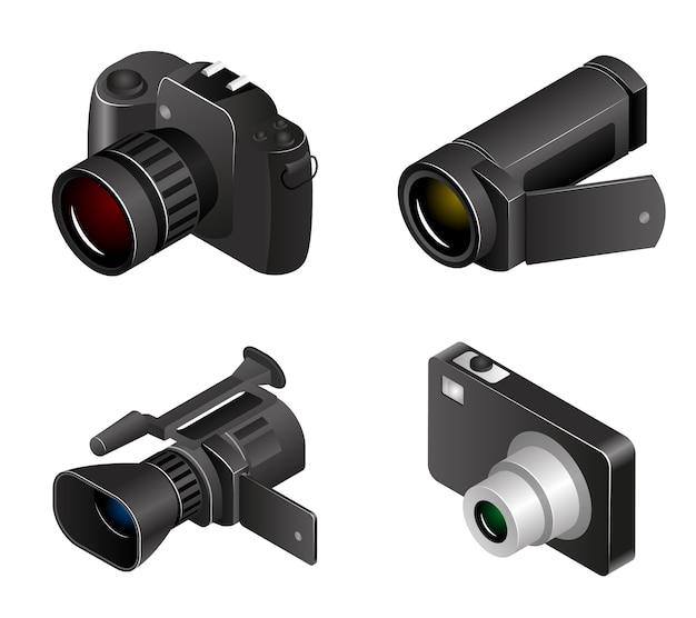 Câmera de vetor. fotos e vídeos em estilo 3d realista. fotocâmera e mídia, videocâmera e equipamentos