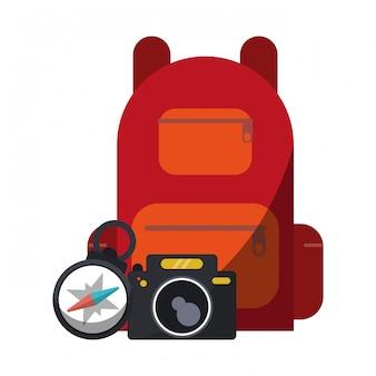Câmera de viagem mochila e bússola