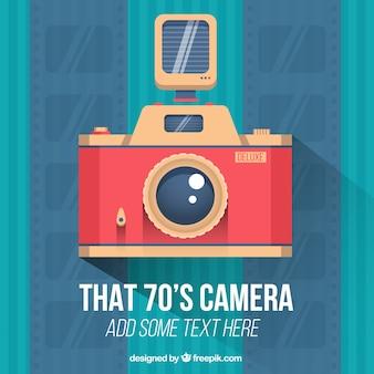 Câmera do vintage no design plano
