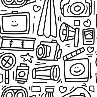 Câmera dos desenhos animados doodle design pattern