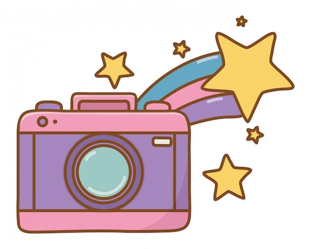 Câmera e estrela cadente