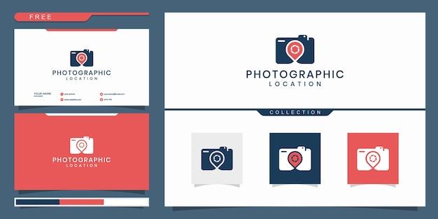 Câmera elegante e alfinete, fotografia, design de logotipo de localização