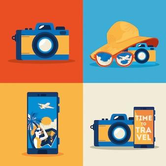 Câmera fotográfica com conjunto de ícones de viagens de verão