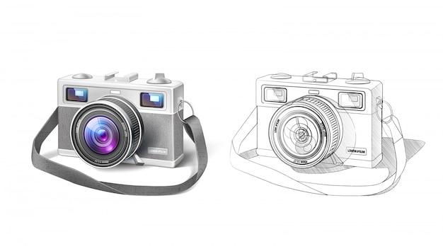 Câmera fotográfica de filme vintage realista com lente macro e planta