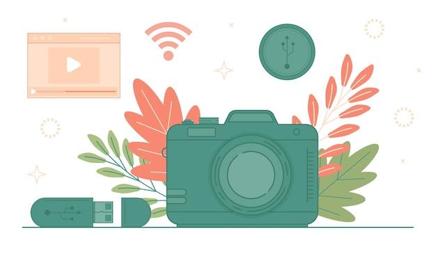 Câmera fotográfica digital conceito de mídia social. ponto de acesso wi-fi e zona de satélite sem fio.