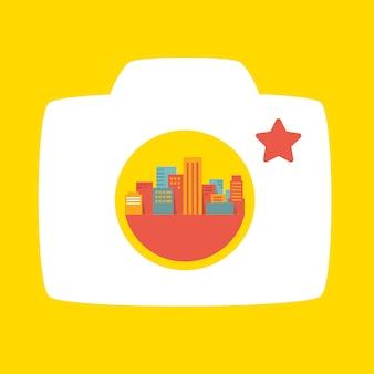 Câmera fotográfica e cidade