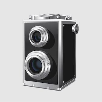Câmera fotográfica quadrada vintage. câmera fotográfica antiga retro realista em fundo branco. isolado.