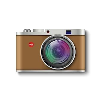 Câmera fotográfica vintage marrom
