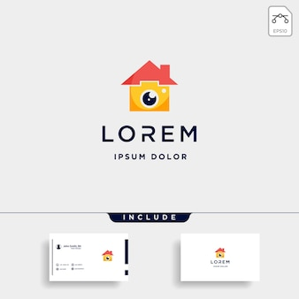 Camera home logo template vector icon design Vetor Premium