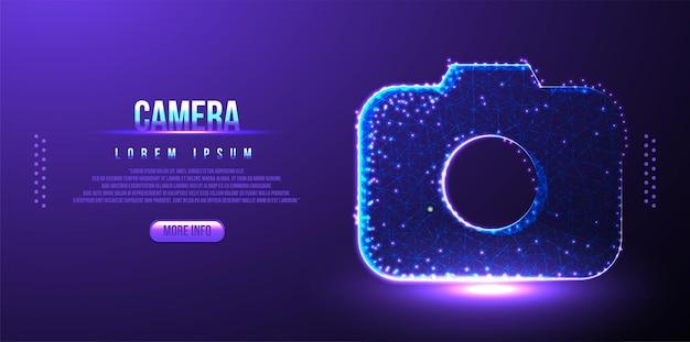 Câmera, lente, fundo de estrutura de arame poli baixa poligonal