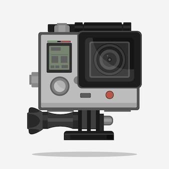 Câmera para esportes radicais ativos em caixa à prova d'água.