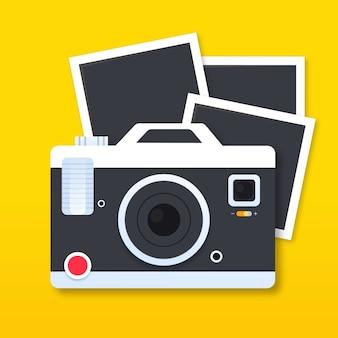 Câmera polaroid e fotos