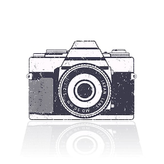 Câmera retro, com textura grunge