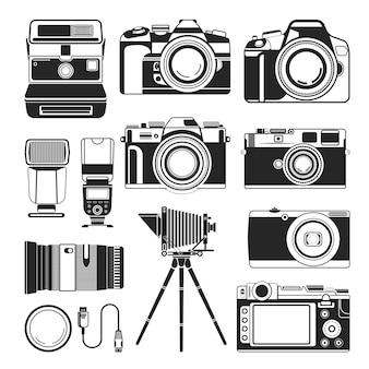 Câmera retro e vetor de equipamento de fotografia antiga ou moderna, ícones de silhueta