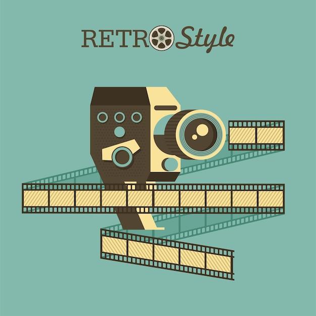 Câmera retro. emblema do vetor. logotipo. câmera e filme vintage.
