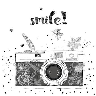 Câmera retro. ilustração vetorial. câmara fotográfica com flores. câmera com padrão floral.