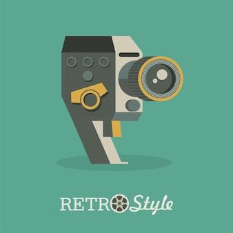 Câmera vintage. ilustração vetorial, emblema, logotipo.