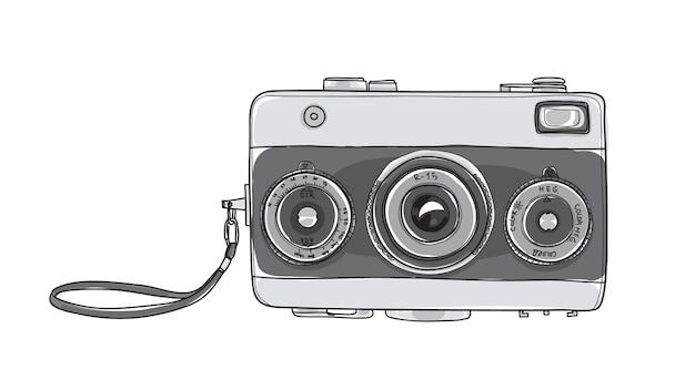Câmera vintage mão desenhada ilustração vetorial