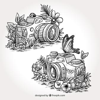 Câmeras artísticas desenhadas a mão