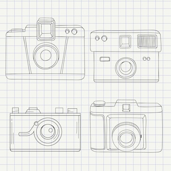 Câmeras coleção em estilo desenhado mão