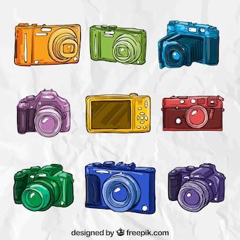 Câmeras coloridas desenhadas mão