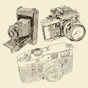 Câmeras de foto do vintage desenhados mão