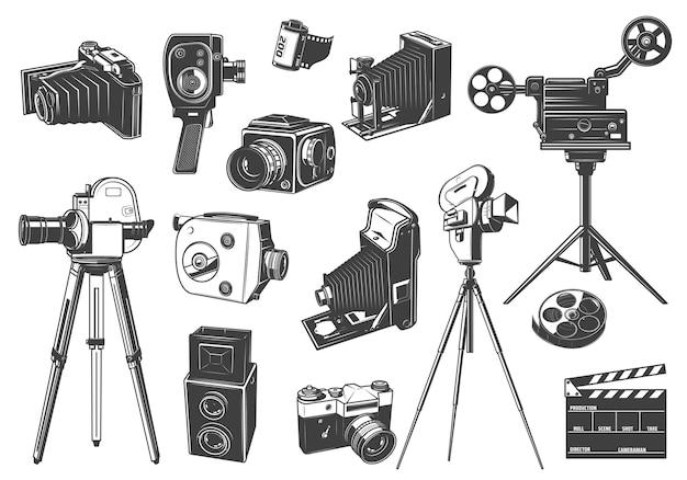 Câmeras de foto e filme retrô, ícones de projetor de cinema.