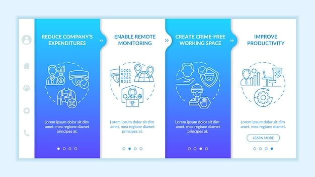 Câmeras de segurança para modelo de vetor de integração de empresas. site móvel responsivo com ícones. passo a passo da página da web em telas de 4 etapas. trabalho monitorando o conceito de cores com ilustrações lineares