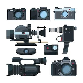 Câmeras de vídeo digitais e equipamentos profissionais diferentes