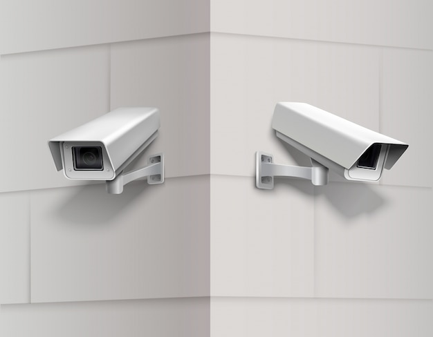 Câmeras de vigilância na parede