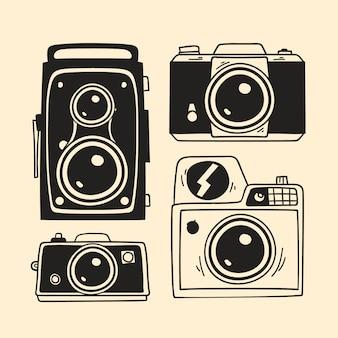 Câmeras desenhadas mão no design retro