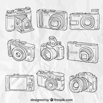 Câmeras desenhadas mão
