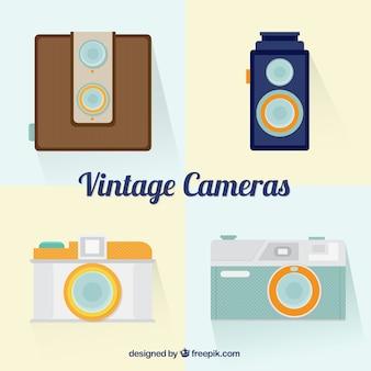 Câmeras do vintage no design plano