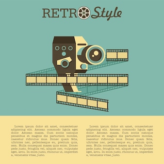Câmeras e filmes antigos. ilustração com lugar para texto.